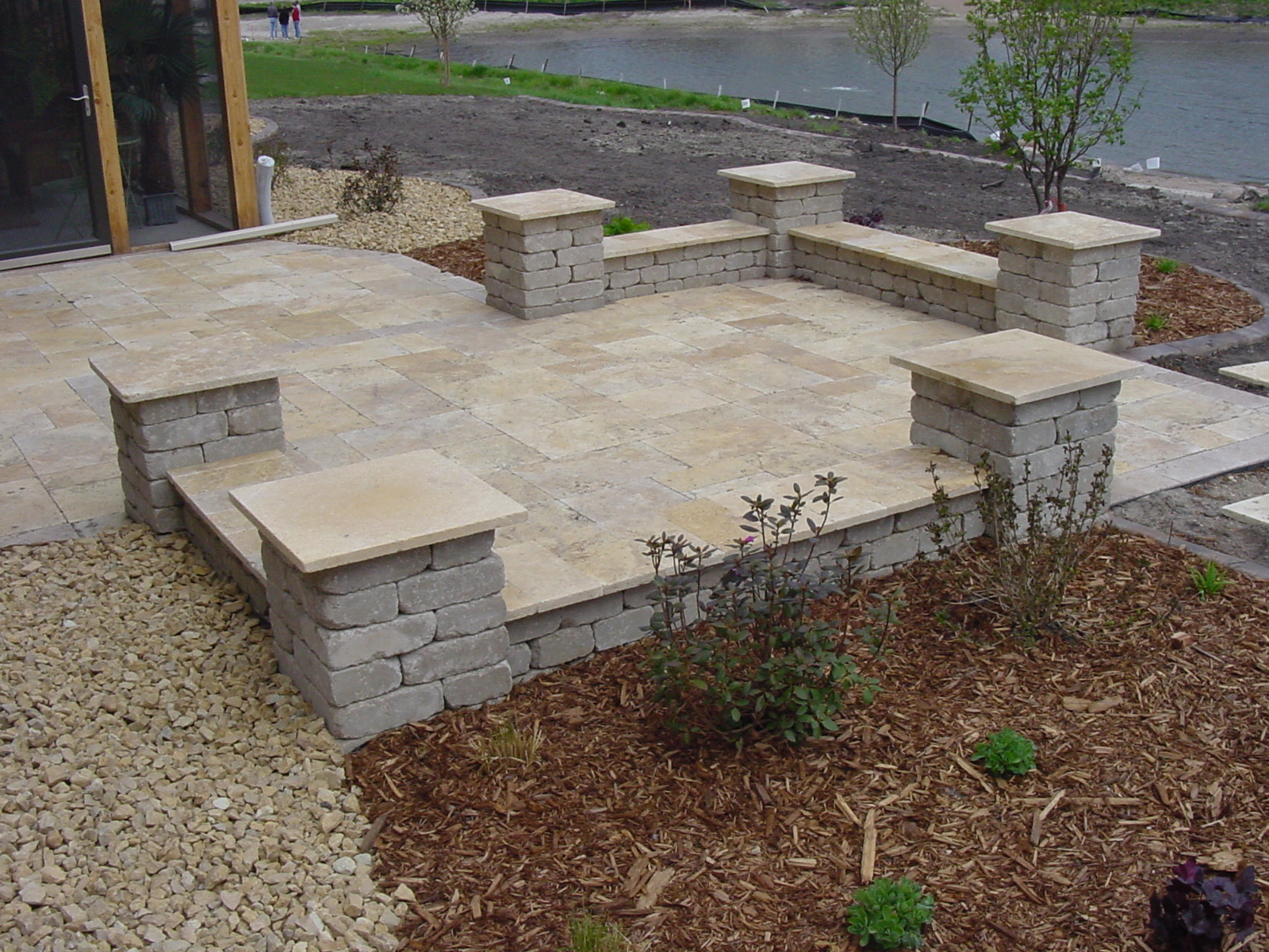 lakefront stone patio - Paver Patio Design Ideas