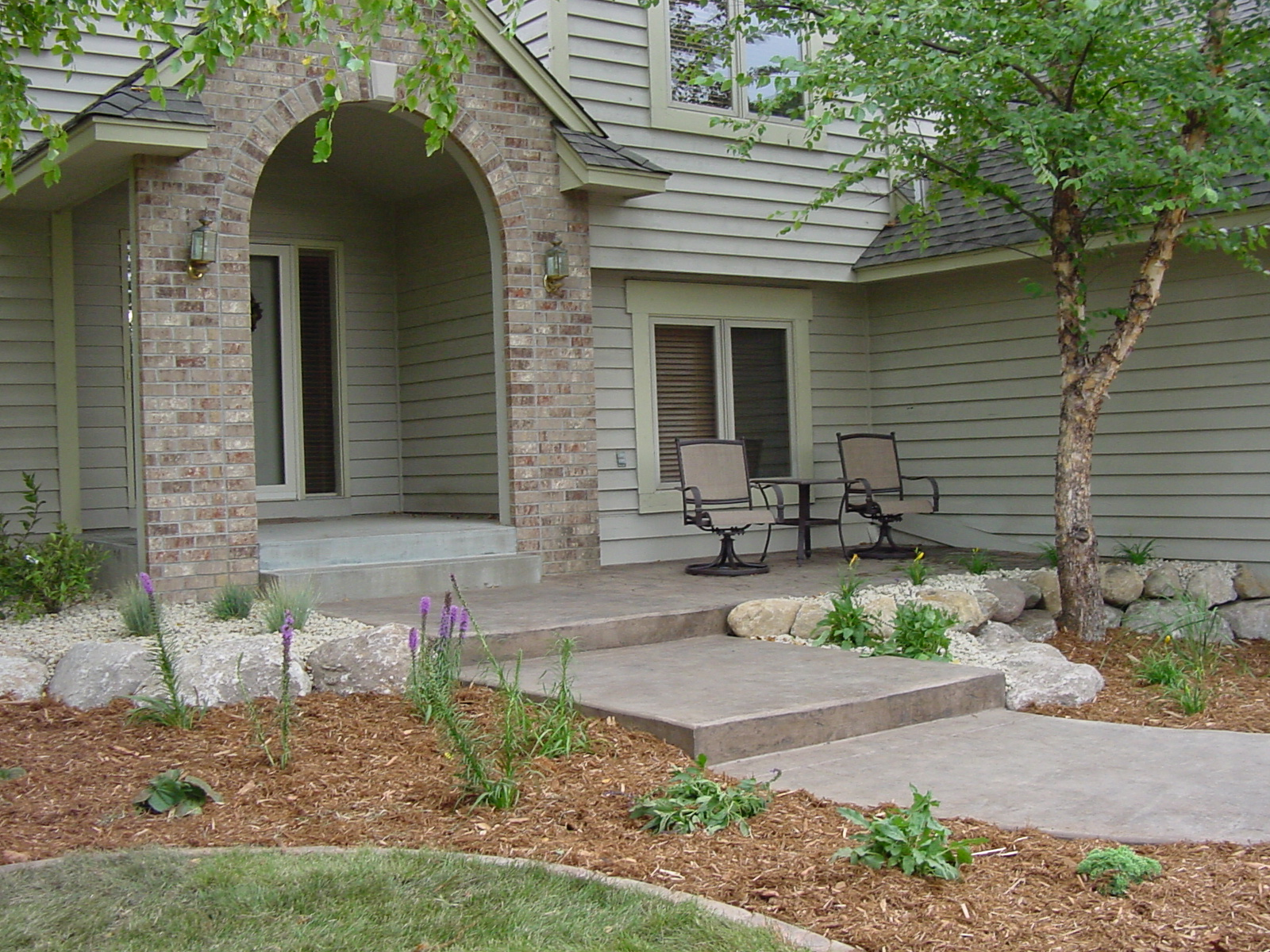 stamped concrete walkway - Residential Landscape Design Ideas